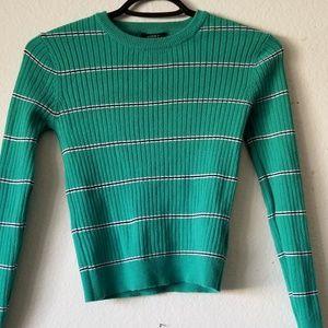FOREVER21 Green Stripped Shirt